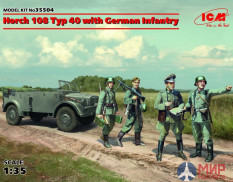 35504 ICM 1/35 German military vehicle Horch 108 Typ 40 with the German infantry