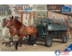 RV35043 Riich Models 1/35 German Hf.7 Horse drawn Steel field wagen w/2 Horses & 2 Figures