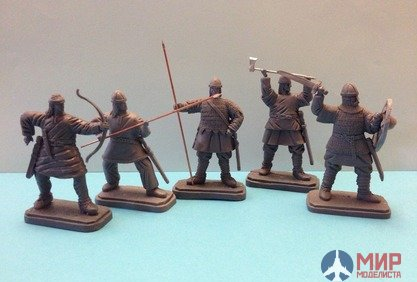 "ТБ1700 Studio ""Three knights"" 54 mm figures of the Anglo-Saxons, 11th century, the Battle of Hastings, 1066"