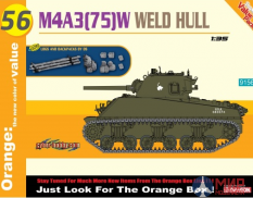 9156 Dragon танк M4A3 (75)W Weld Hull + Logs And Backpacks 1/35
