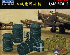 FB4020  аксессуары  German WWII Jerrycans & Oil Drums  (1:48) Bronco