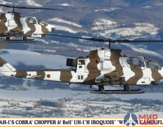 "02239  Bell AH-1S COBRA CHOPPER and Bell UH-1H IROQUOIS ""WINTER CAMOUFLAGE"" (Two ki (HASEGAWA)  1/72"